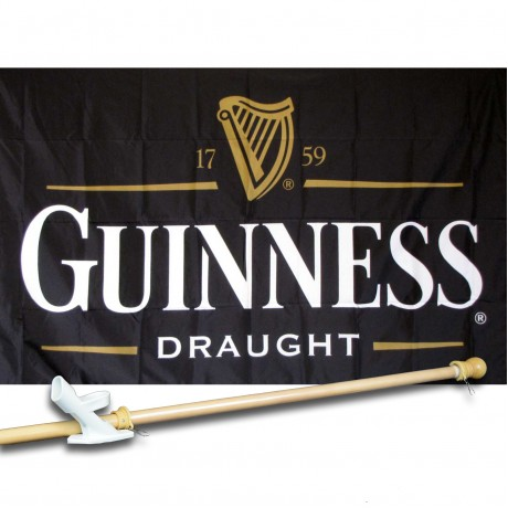 GUINNESS 3' x 5'  Flag, Pole And Mount.