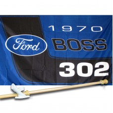 Ford Boss Auotmotive 3'x 5' polyester Flag, pole and mount