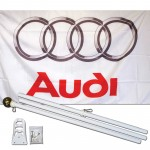 Audi White 3' x 5' Polyester Flag, Pole and Mount
