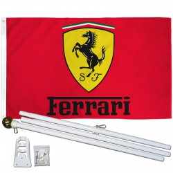 Ferrari Red 3' x 5' Polyester Flag, Pole and Mount