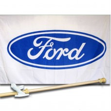 Ford White Automotive 3'x 5' polyester Flag, Pole And Mount.