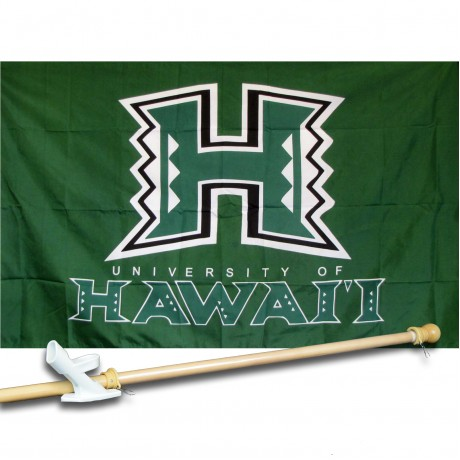 HAWAII COLLEGE 3' x 5'  Flag, Pole And Mount.