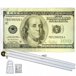Hundred Dollar Bill 3' x 5' Polyester Flag, Pole and Mount