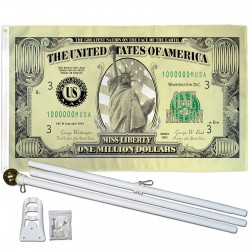 Million Dollar Bill 3' x 5' Polyester Flag, Pole and Mount