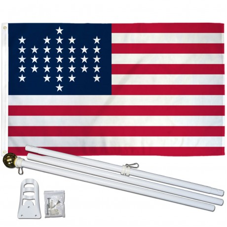 USA Historical 33 Star 3' x 5' Polyester Flag, Pole and Mount