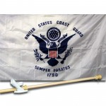 United States Coast Guard 3' x 5' Nylon Flag, Pole and Mount