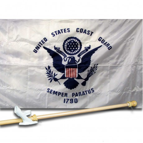 United States Coast Guard 3' x 5' Nylon Flag, Pole and Mount