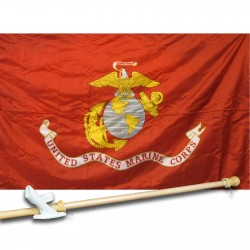 United States Marine Corps 3' x 5' Nylon Flag, Pole and Mount