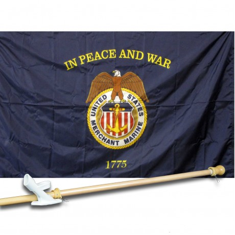 United States Merchant Marine 3' x 5' Nylon Flag, Pole and Mount