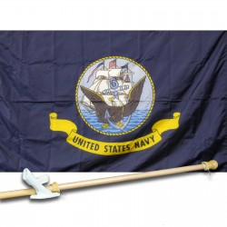 United States Navy 3' x 5' Nylon Flag, Pole and Mount