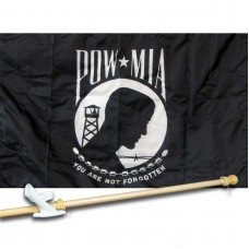 POW-MIA 3' x 5' Nylon Flag, Pole and Mount