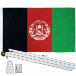 Afghanistan 3' x 5' Polyester Flag, Pole and Mount