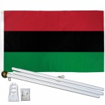 Afro American 3' x 5' Polyester Flag, Pole and Mount