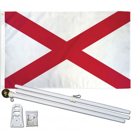 Alabama State 3' x 5' Polyester Flag, Pole and Mount