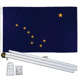 Alaska State 3' x 5' Polyester Flag, Pole and Mount