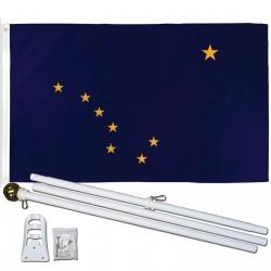 ALASKA 3' x 5'  Flag, Pole And Mount.