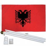 Albania 3' x 5' Polyester Flag, Pole and Mount