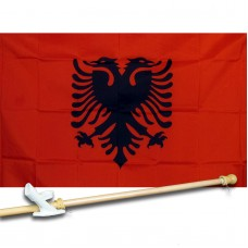 ALBANIA COUNTRY 3' x 5'  Flag, Pole And Mount.