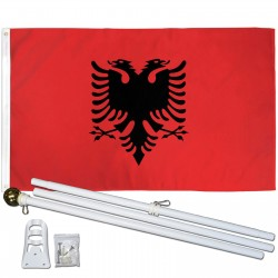 Albania 3' x 5' Polyester Flag, Pole and Mount