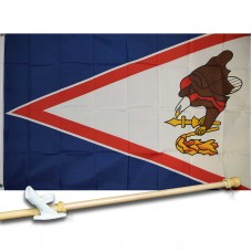 AMERICAN SAMOA 3' x 5'  Flag, Pole And Mount.