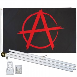 Anarchy 3' x 5' Polyester Flag, Pole and Mount