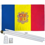 Andorra 3' x 5' Polyester Flag, Pole and Mount