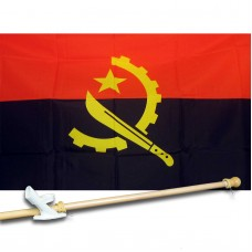 ANGOLA COUNTRY 3' x 5'  Flag, Pole And Mount.