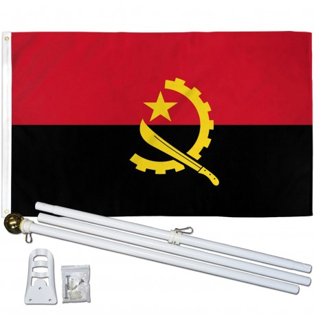 Angola 3' x 5' Polyester Flag, Pole and Mount