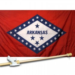 ARKANSAS 3' x 5'  Flag, Pole And Mount.