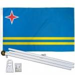 Aruba 3' x 5' Polyester Flag, Pole and Mount
