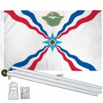 Assyrian 3' x 5' Polyester Flag, Pole and Mount