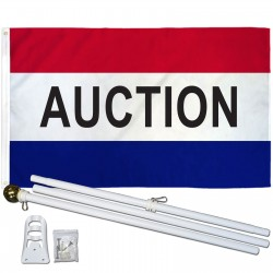 Auction Patriotic 3' x 5' Polyester Flag, Pole and Mount