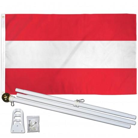 Austria 3' x 5' Polyester Flag, Pole and Mount