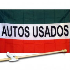 Auto Usados (Used Cars) 3'x 5' polyester Business Flag , Pole And Mount.