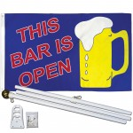 This Bar Is Open 3' x 5' Polyester Flag, Pole and Mount