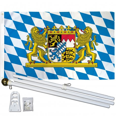 Bavaria with Lion 3' x 5' Polyester Flag, Pole and Mount