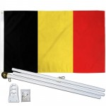 Belgium 3' x 5' Polyester Flag, Pole and Mount