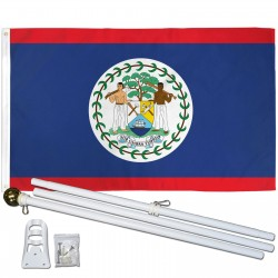 Belize 3' x 5' Polyester Flag, Pole and Mount