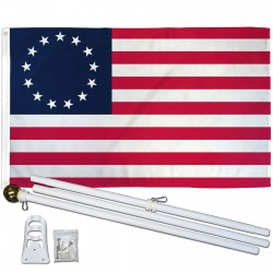 USA Historical Betsy Ross 3' x 5' Polyester Flag, Pole and Mount