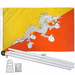 Bhutan 3' x 5' Polyester Flag, Pole and Mount