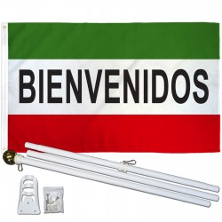 Bienvenidos 3' x 5' Polyester Flag, Pole and Mount