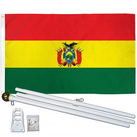 Bolivia 3' x 5' Polyester Flag, Pole and Mount