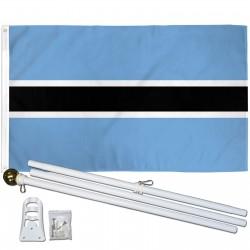 Botswana 3' x 5' Polyester Flag, Pole and Mount