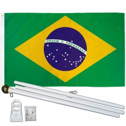 Brazil 3' x 5' Polyester Flag, Pole and Mount