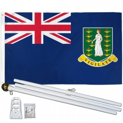 British Virgin Islands 3' x 5' Polyester Flag, Pole and Mount
