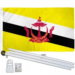 Brunei 3' x 5' Polyester Flag, Pole and Mount