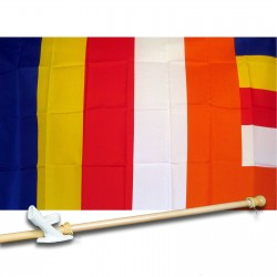 BUDDHIST RELIGIOUS 3' x 5'  Flag, Pole And Mount.