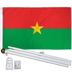 Burkina Faso 3' x 5' Polyester Flag, Pole and Mount
