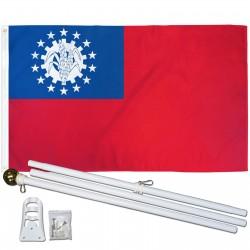 Myanmar Burma Historical 3' x 5' Polyester Flag, Pole and Mount