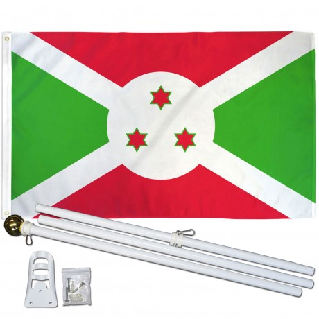 Burundi 3' x 5' Polyester Flag, Pole and Mount